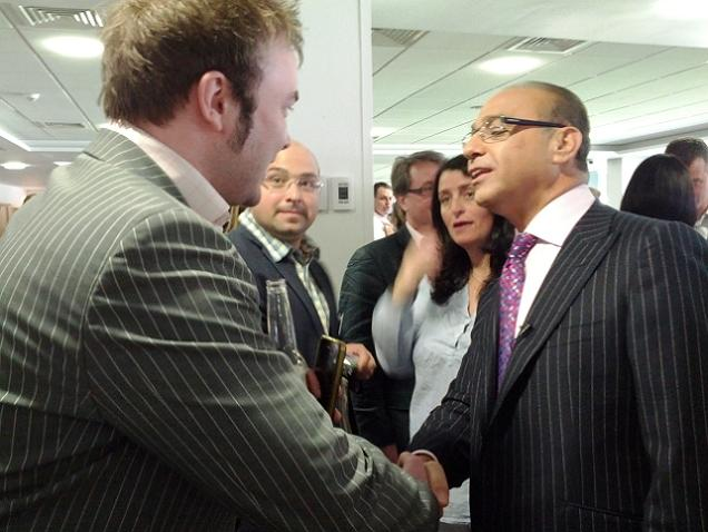 Adam Arnold with Theo Paphitis at the Inaugural #sbs winners' event