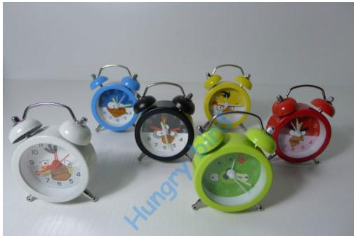 Angry Birds alarm clocks in red, blue, black, white, yellow and green