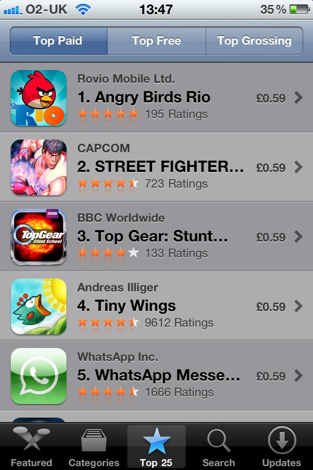 Angry Birds Rio - top paid app already