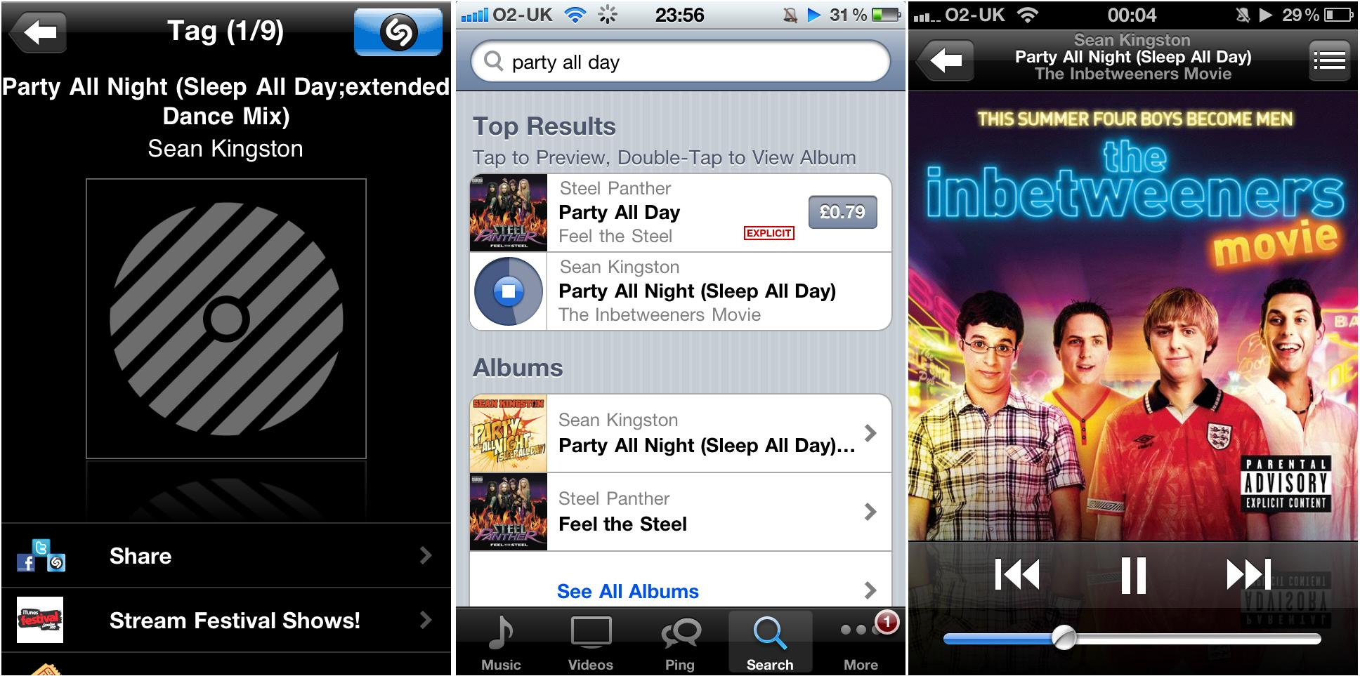 Music from The Inbetweeners Film via Shazam