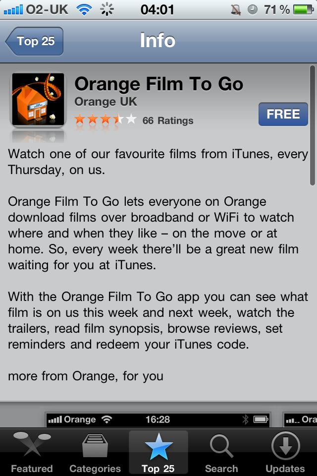 Orange Thursdays (Film To Go iOS app)