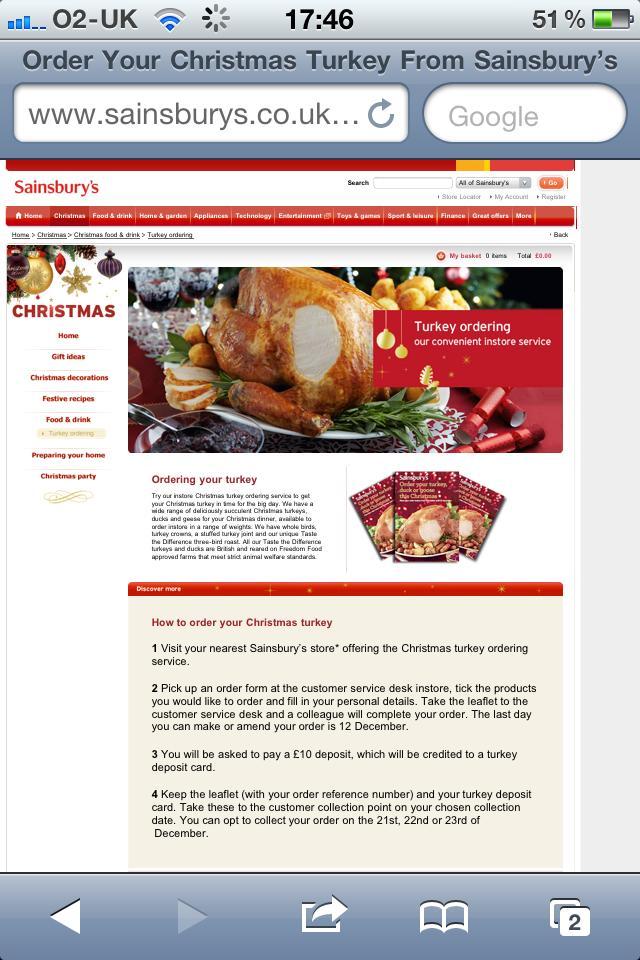 Christmas Turkeys from J Sainsbury