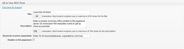 Wordpress: Using All in One SEO pack to configure meta title, meta description & meta keywords