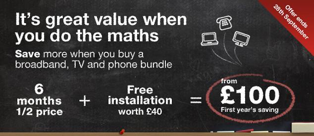 Virgin Media 6 months half price and free installation offer ends 28th September