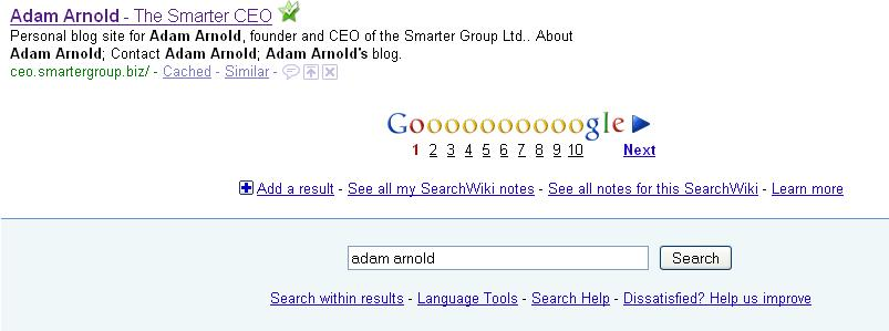 Adam Arnold in the Google SERPs
