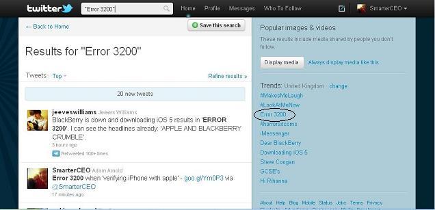 Error 3200 trending on Twitter