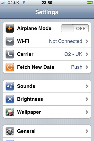 Open iPhone settings and select brightness